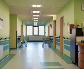 Hospital corridor and nurses station